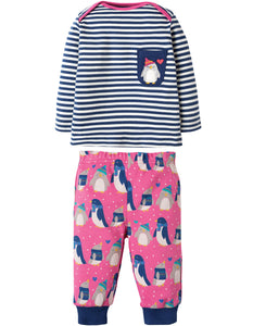 Frugi Penny PJs - Flamingo Penguin Huddle - Tilly & Jasper