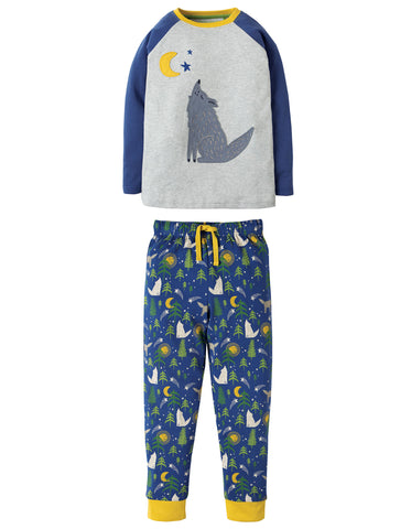 Image of Frugi Jamie Jim Jams - Moonlit Night/Wolf