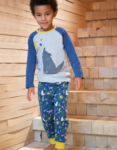 Image of Frugi Jamie Jim Jams - Moonlit Night/Wolf - Organic Cotton