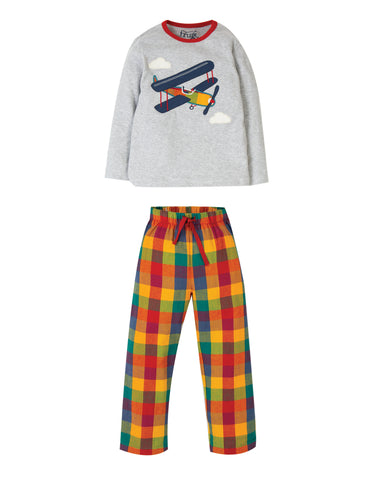 Image of Frugi Caden Check PJs - Grey Marl/Plane - Tilly & Jasper