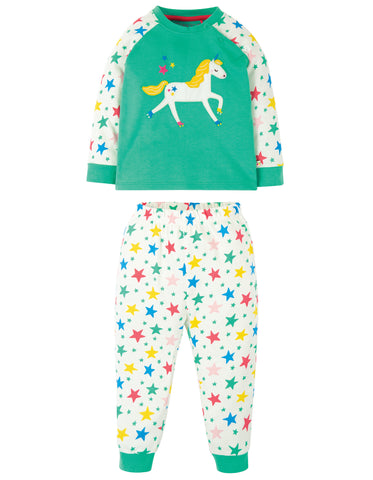 Image of Frugi Ace PJs - Pacific Aqua/Unicorn