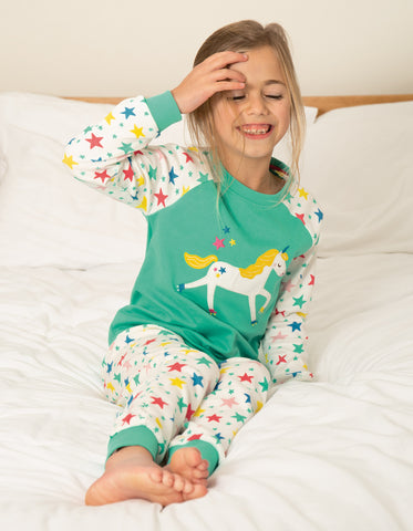 Frugi Ace PJs - Pacific Aqua/Unicorn