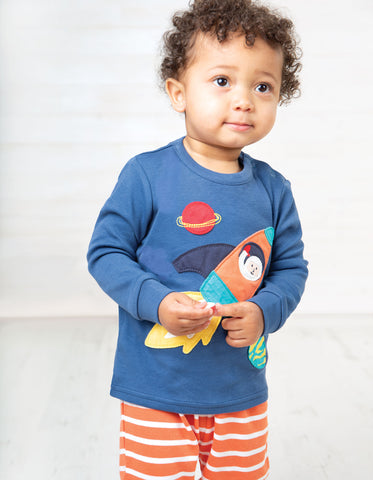Frugi Little Long John PJs - Marine Blue/Rocket