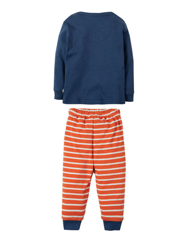 Frugi Little Long John PJs - Marine Blue/Rocket - Tilly & Jasper