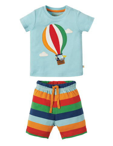 Frugi Little Perran PJs - Tidal Blue/Hot Air Balloon - Tilly & Jasper