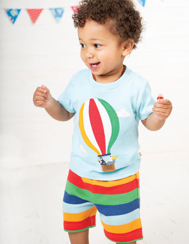 Image of Frugi Little Perran PJs - Tidal Blue/Hot Air Balloon