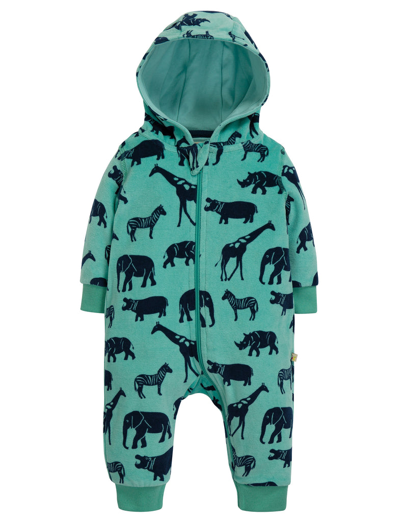 Frugi Velour Snuggle Suit - Savannah