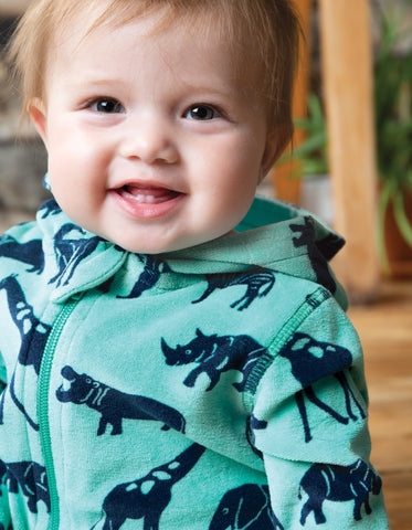 Image of Frugi Velour Snuggle Suit - Savannah
