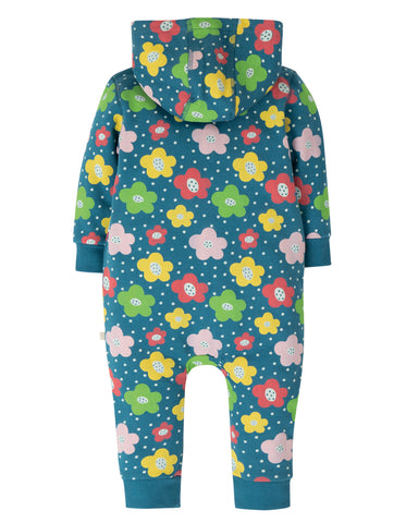Image of Frugi Snuggle Suit - Steely Blue Floral Spot