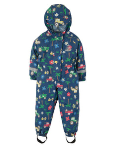 Frugi Puddle Buster Suit - Marine Blue Tractors