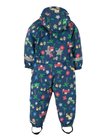Image of Frugi Puddle Buster Suit - Marine Blue Tractors - Tilly & Jasper