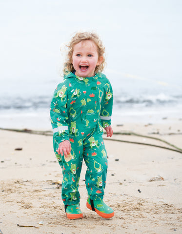 Image of Frugi Puddle Buster Suit - Samson Green Frog Pond - Tilly & Jasper
