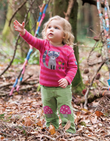 Image of Frugi Little Cord Patch Trouser - Meadow/Toadstools - Organic Cotton