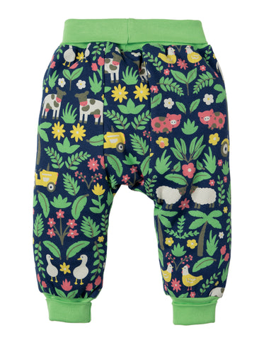 Image of Frugi Parsnip Pants - Marine Blue Farm Floral - Tilly & Jasper