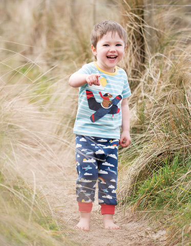 Frugi Parsnip Pants - Marine Blue Fly Away