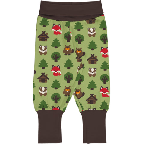 Maxomorra Rib Pants - Green Forest
