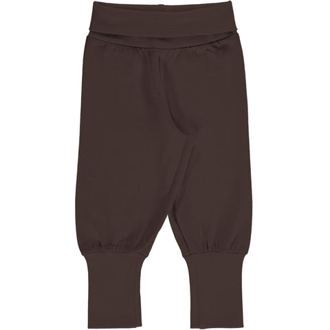 Maxomorra Rib Pants - Solid Chocolate