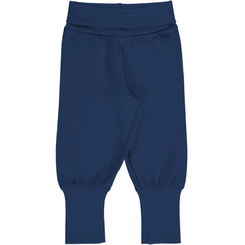 Maxomorra Rib Pants - Solid Navy