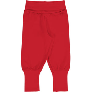 Maxomorra Rib Pants - Solid Ruby