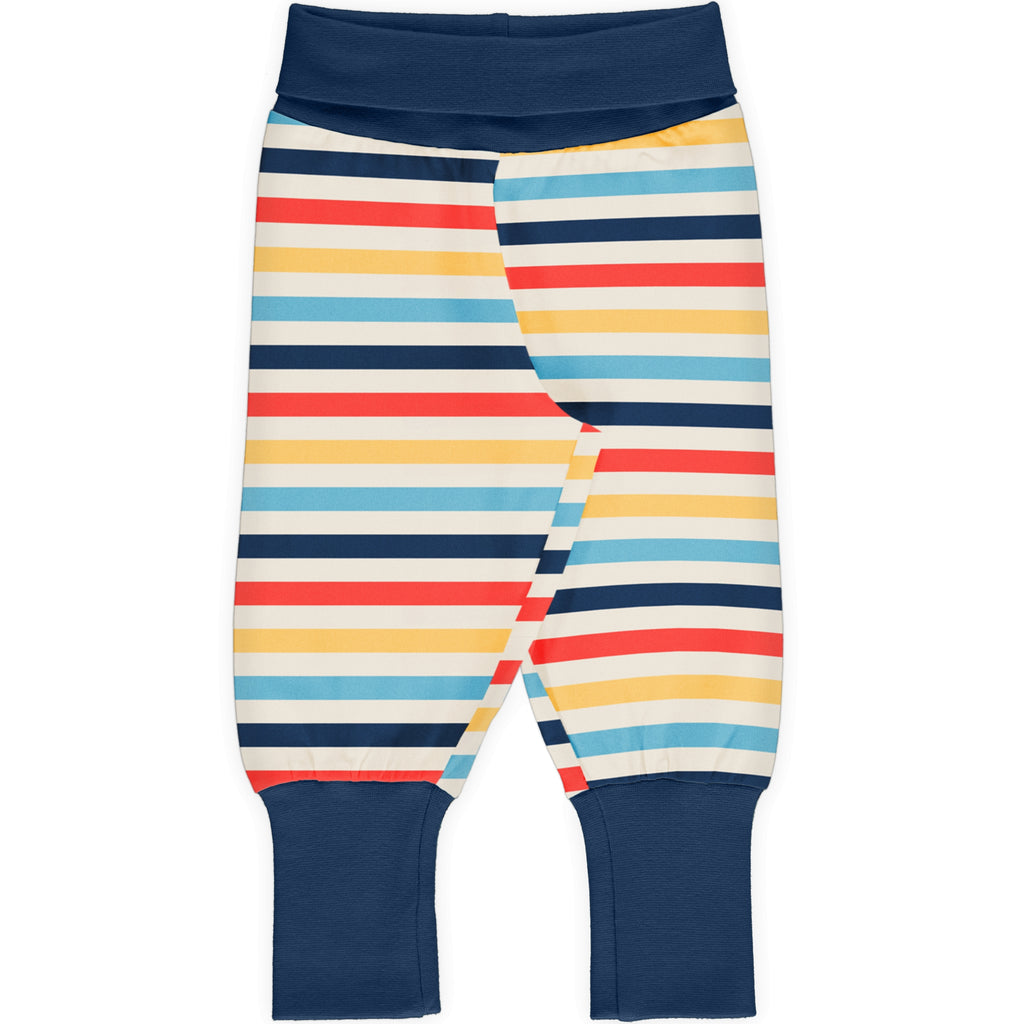Maxomorra Rib Pants - Milk Stripe
