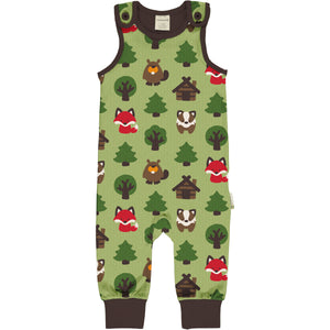 Maxomorra Dungarees - Green Forest