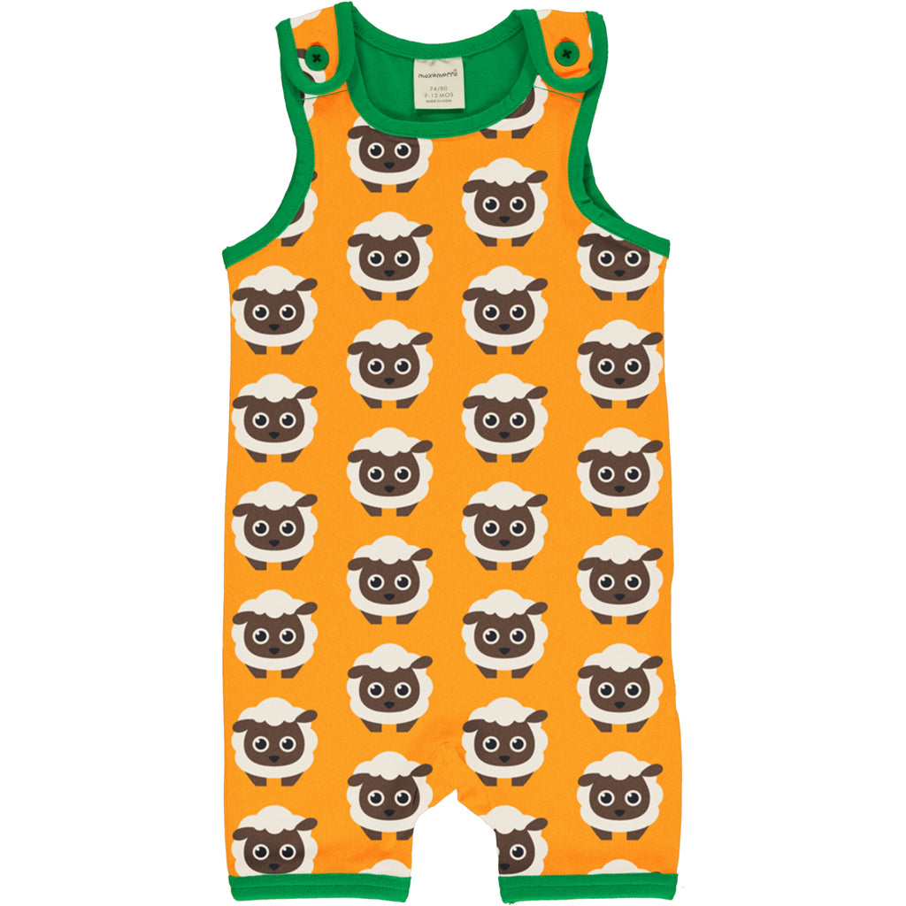 Maxomorra Short Dungarees - Classic Sheep