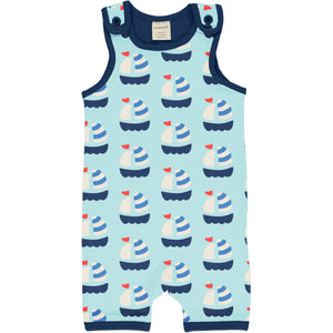 Maxomorra Short Dungarees - Sailboat