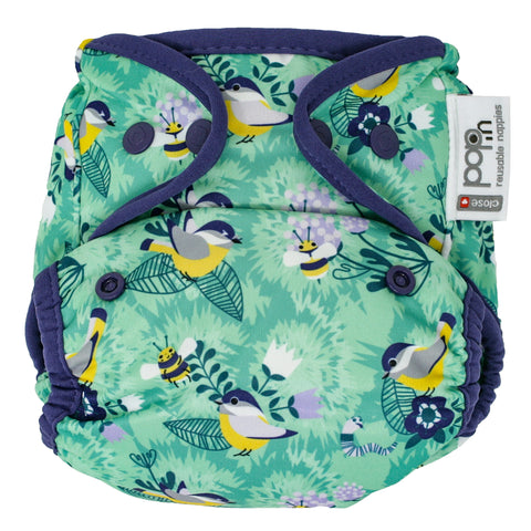 Close Reusable Nappy Popper Cover - Endangered Garden Collection - Round The Garden