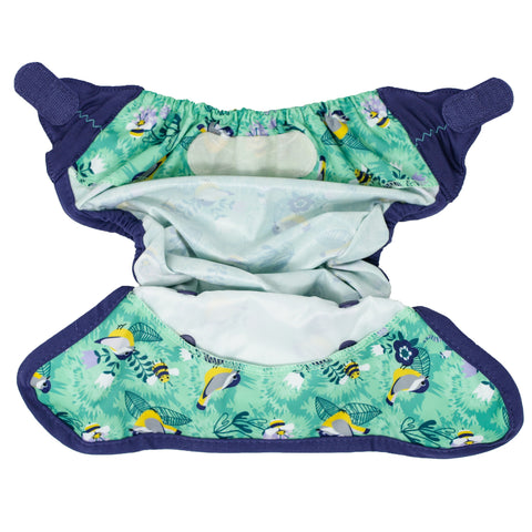 Image of Close Reusable Nappy Popper Cover - Endangered Garden Collection - Round The Garden