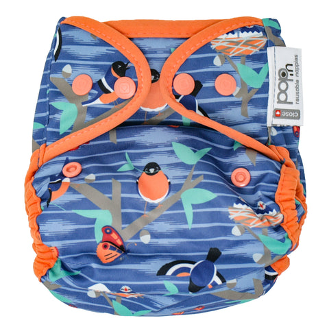 Close Reusable Nappy Popper Cover - Endangered Garden Collection - Twilight Garden