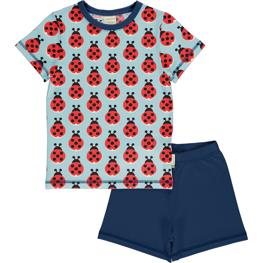 Maxomorra Short Sleeve Pyjama Set - Lazy Ladybug