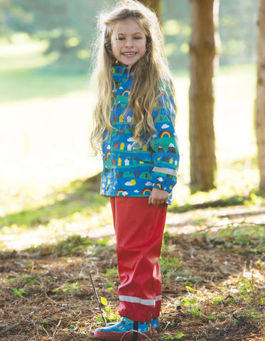 Frugi Puddle Buster Coat - Sail Blue Alpine Town