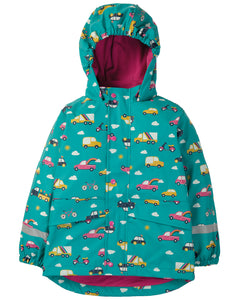 Frugi Puddle Buster Coat - Aqua Rainbow Roads