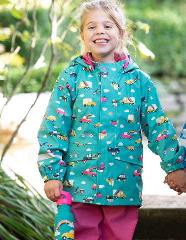 Image of Frugi Puddle Buster Coat - Aqua Rainbow Roads - Tilly & Jasper