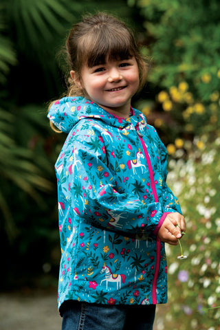 Image of Frugi Rain Or Shine Jacket - Teal Indian Horse