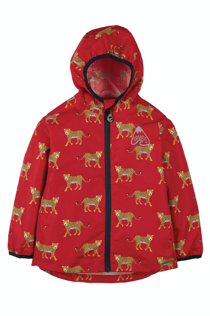 Frugi Rain Or Shine Jacket - True Red Leopards