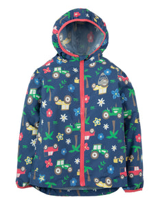 Frugi Puddle Buster Packaway Jacket - Marine Blue Tractors