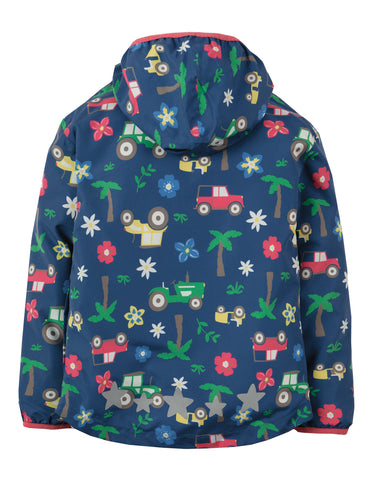 Image of Frugi Puddle Buster Packaway Jacket - Marine Blue Tractors - Tilly & Jasper