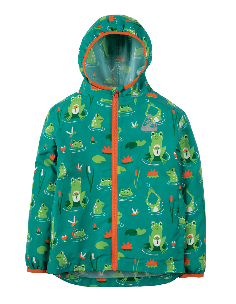 Frugi Puddle Buster Packaway Jacket - Samson Green Frog Pond - Tilly & Jasper