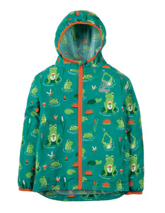 Frugi Puddle Buster Packaway Jacket - Samson Green Frog Pond