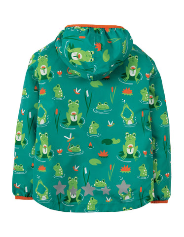 Image of Frugi Puddle Buster Packaway Jacket - Samson Green Frog Pond