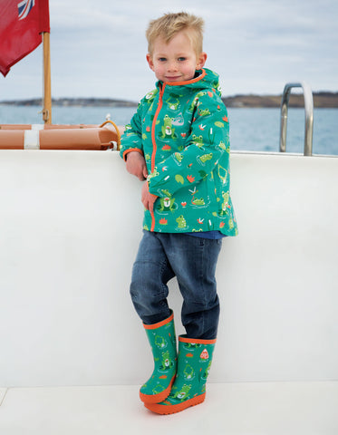 Image of Frugi Puddle Buster Packaway Jacket - Samson Green Frog Pond - Tilly & Jasper