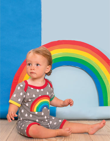Image of Toby Tiger Raindrop with Rainbow Applique Sleepsuit