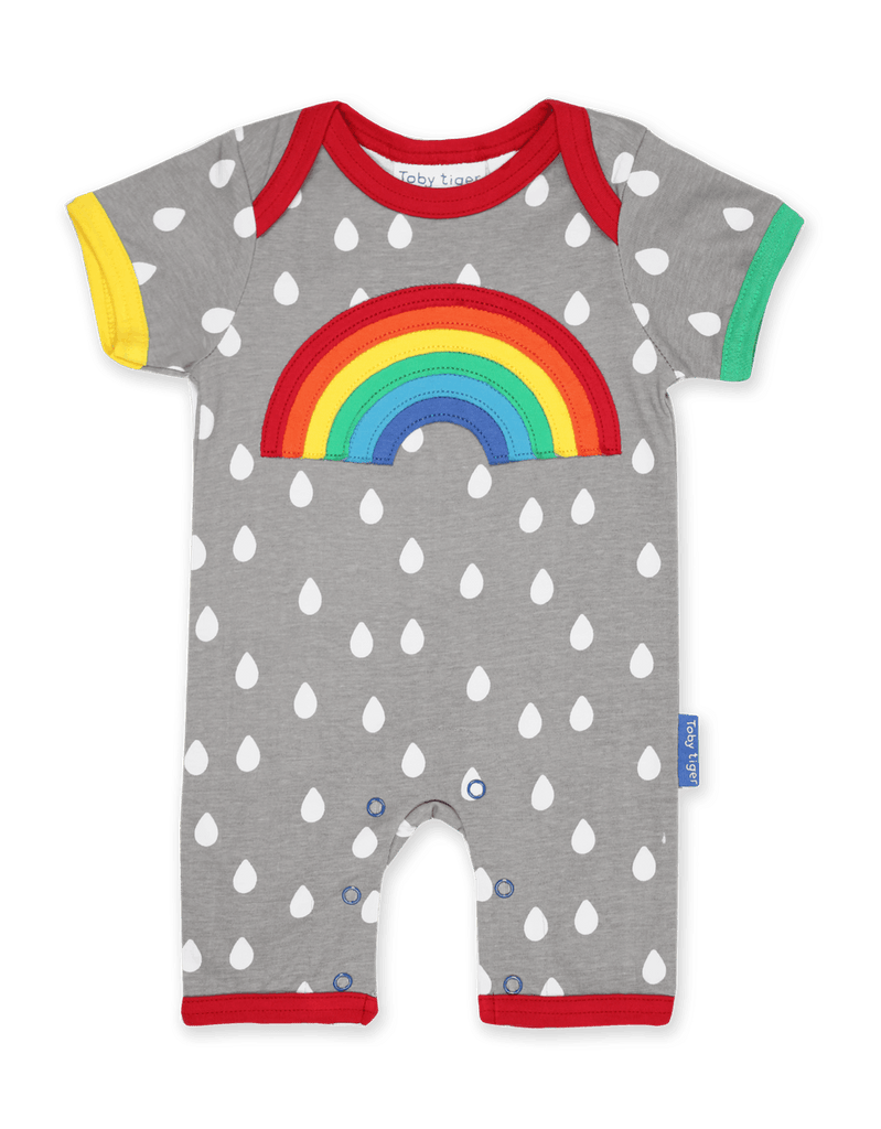 Toby Tiger Raindrop with Rainbow Applique Sleepsuit