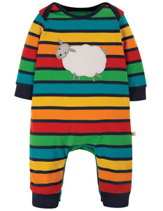 Frugi Charlie Romper - Bumble Rainbow Stripe/Sheep