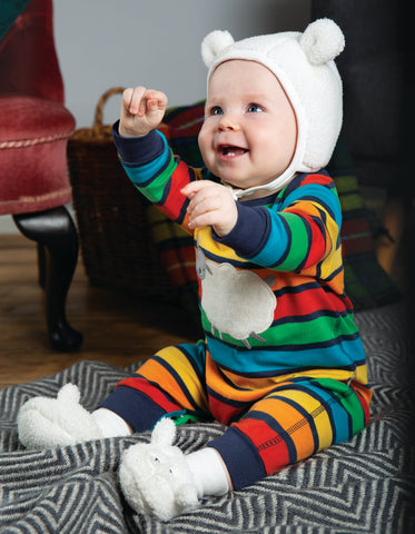 Image of Frugi Charlie Romper - Bumble Rainbow Stripe/Sheep
