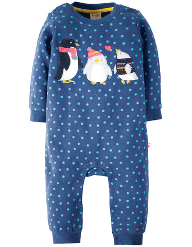 Image of Frugi Snug And Cosy Romper - True Blue Hail/Penguin
