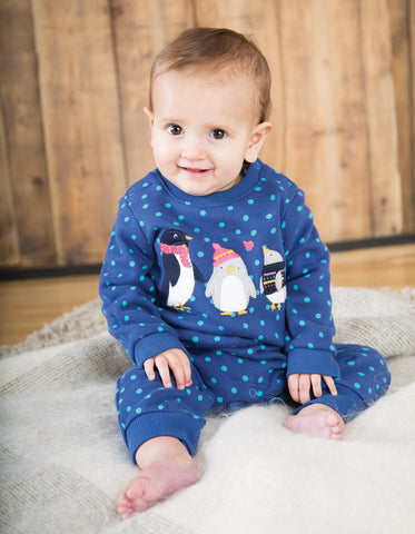 Frugi Snug And Cosy Romper - True Blue Hail/Penguin