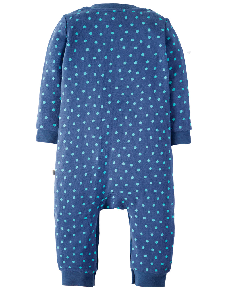 Frugi Snug And Cosy Romper - True Blue Hail/Penguin - Tilly & Jasper