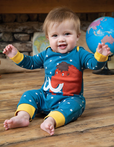 Frugi Charlie Romper - Steely Blue Star/Mammoth